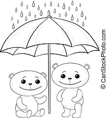 ours, parapluie, contours, teddy