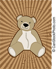ours peluche, accented, contre, grungy, rayon, faisceau
