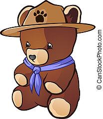 ours peluche, charac, scout, petit, dessin animé