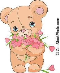 ours peluche, donner, cœurs, bouquet