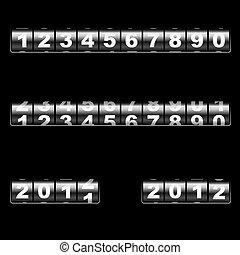 out-dated, modelo, year., editar, universal, contador, dois, numbers., –, vetorial, combinar, exemplos, fácil, ano, uso, mudança, mecânico, 2011, qualquer, 2012