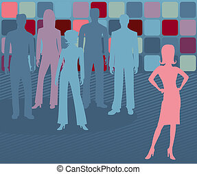 Out Front - Female - Woman leader stands out, with others ...