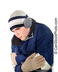 Young man bundled up from the cold