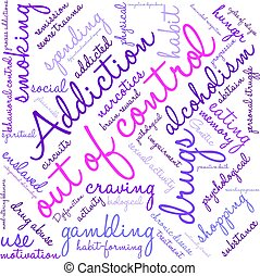 Out Of Control Addiction Word Cloud On a White Background.