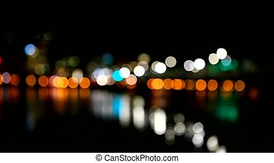 Out of focus blur bokeh movie of downtown skyline with water reflection in Portland Or at night 1080p