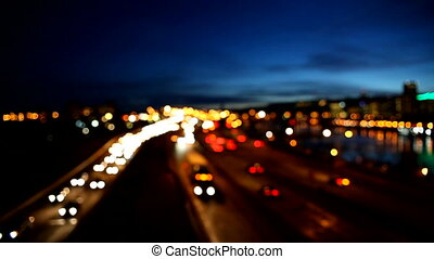 Out of Focus Bokeh Traffic at Night - High Definition Movie...