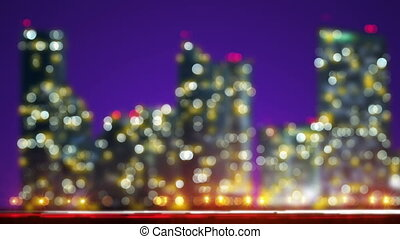 Out of focus lights night city and traffic loop