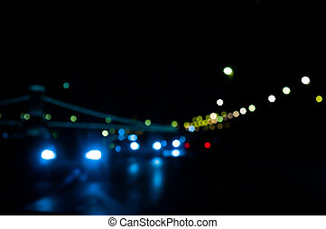 Out of focus lights of traffic and city at night