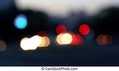 Out of focus night city lights and traffic background