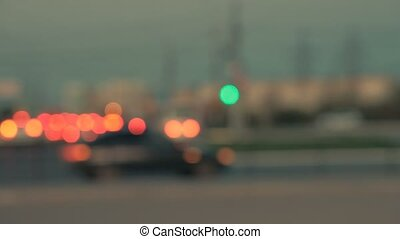 Out of focus shot of city lights in a industrial zone of the...