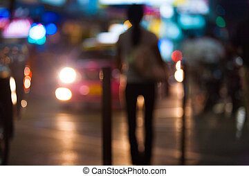 Out Of Focus Street Prostitute Headlights Night - An...
