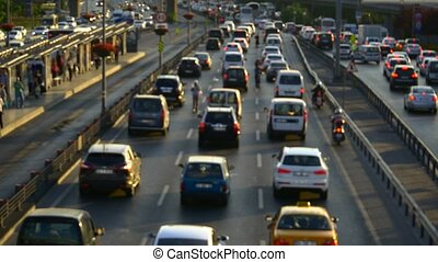 Out of focus traffic congestion - Traffic congestion on...