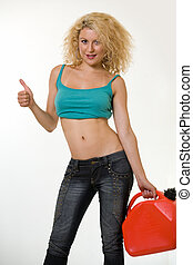 Out of gas - Beautiful blond hair woman wearing sexy tank ...