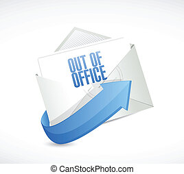 out of office reply email envelope illustration design over...