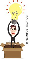 Clipart picture of a businessman cartoon character with idea bulb jumping out of a carton box