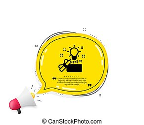 Out of the box icon. Quote speech bubble. Creativity sign. Gift box with idea symbol. Quotation marks. Classic creative idea icon. Vector
