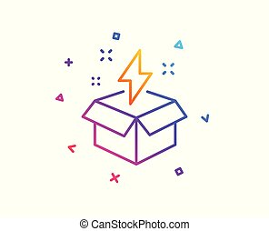 Out of the box line icon. Creativity sign. Gift box with lightning bolt symbol. Gradient line button. Creative idea icon design. Colorful geometric shapes. Vector