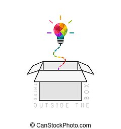 Out of the box thinking concept with colorful low poly light bulb