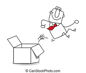 out of the box - This businessman goes out this box. It's a ...