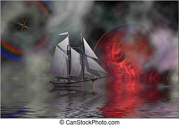 OUT OF THE MIST - Cosmic seascape of a sailing ship.