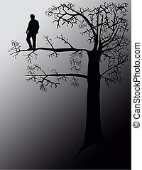 Out On A Limb - Out on a limb. Concept, illustration.