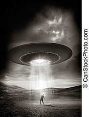 Out There. A man shields his eyes from the bright UFO above ...