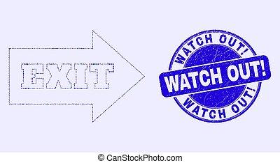 out!, timbre, montre, cachet, bleu, flèche, détresse, sortie, mosaïque