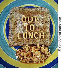 out to lunch slogan made from spaghetti pasta shapes - funny...