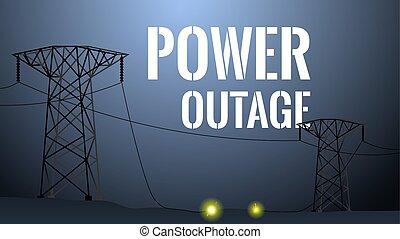 outage, ilustración, concepto, potencia, apagón