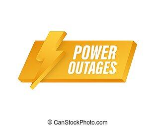 outages., estampilla, logo., potencia, insignia, vector, ...