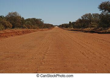 outback, austrália, estrada, sujeira