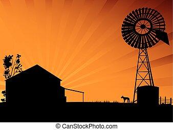 Outback Australia silhouette scene of farm house and...