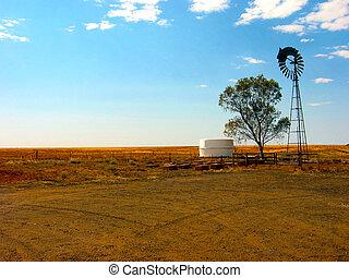 Outback Farm - A remote Australian outback farm wind mill...