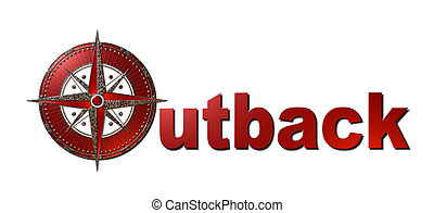 Outback (Metallic Sign) - A 3d red metallic and gold sign...