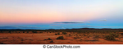 Outback Panorama - Australian outback panorama, at sunset. ...
