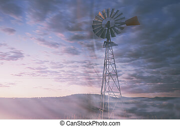 Outback Windmill - Windmill in the outback of Queensland,...