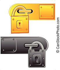 Vector illustration of the outboard lock on white background