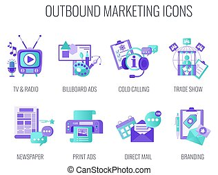 Outbound Infographics Marketing Icons. Flat vector ...