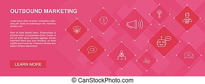 outbound marketing banner 10 icons concept. Conversion, ...