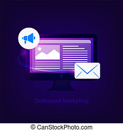 Outbound marketing concept. Business strategy. Computer ...