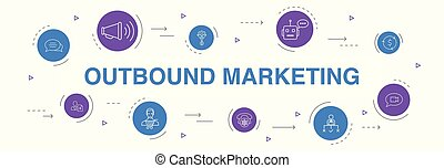 outbound marketing Infographic 10 steps circle design. ...