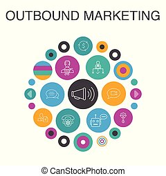 outbound marketing Infographic circle concept. Smart UI ...