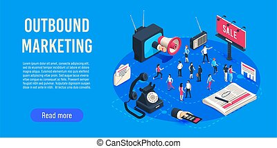 Outbound marketing isometric. Business market sales ...
