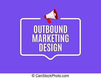 Outbound marketing speech bubble. Megaphone outbound media ...