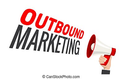 Outbound marketing vector advertising concept. Megaphone ...
