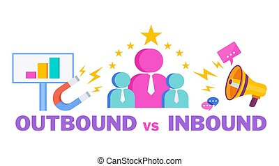 Outbound vs Inbound Infographics Marketing Icons. ...