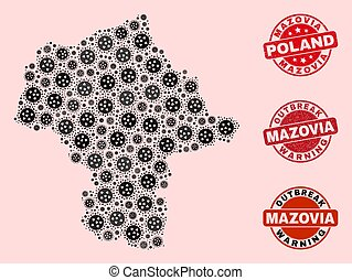 Outbreak Collage of Mosaic Mazovia Province Map and Grunge Seal Stamps