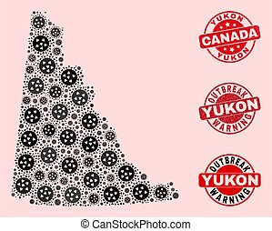Outbreak Collage of Mosaic Yukon Province Map and Grunge Seal Stamps