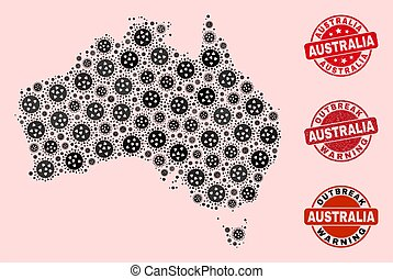 Outbreak Composition of Mosaic Australia Map and Grunge Seal Stamps