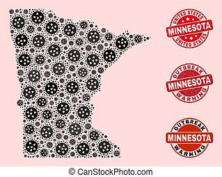 Outbreak Composition of Mosaic Minnesota State Map and Grunge Seal Stamps